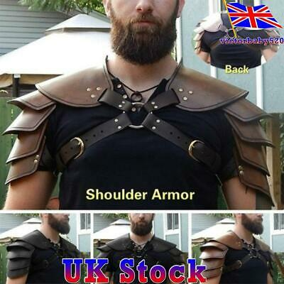 Viking Roman Double Shoulder Armour Pirate Gladiator Leather Breastplate Cosplay