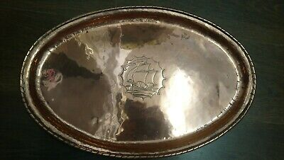 Antique Arts And Crafts Hugh Wallis Hammered Copper Tray, Ship