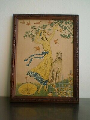 "Frame Antique Art Deco ""Elegant Levrier"" Chromo Decoration 1930 Fashion Women's"