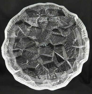 "Vintage 11"" x 2"" Clear Thick Art Glass Round Serving Dish Tray Bowl Textured"