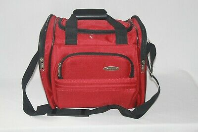 Samsonite Red Nylon Travel Carry On Tote Duffle Overnight Shoulder Bag Luggage