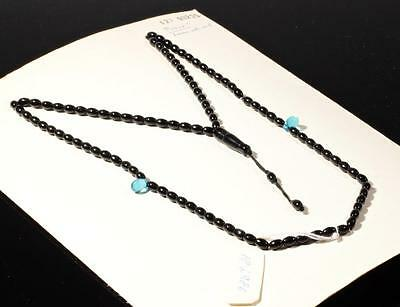 Vintage Czech 99 oval pear tube black blue glass beaded Islamic prayer strand