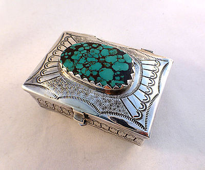 Beautiful Leo Begay Navajo Sterling & Turquoise Footed Hinged Box