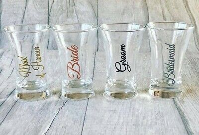 72 Personalised Engraved 60ml conical Shot Glass Wedding Birthday Stag Hen Party