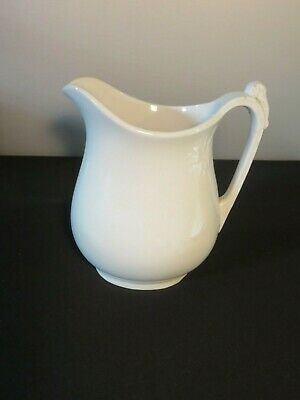 "Antique Ironstone 9.5"" White Ceramic H. Alcock Water Pitcher Jug Elephant Handle"
