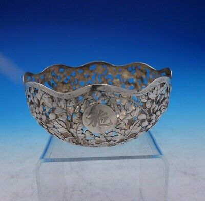 Lain Chang Chinese Sterling Silver Bowl Pierced Engraved w/Leaves Flowers #3844