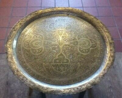 Exceptional Brass Folding Tea Table Middle Eastern Moroccan Arabic Bohemian