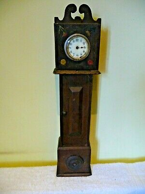 Antique Scratch built Miniature Grandfather Clock For Restoration Not Working