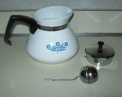Vintage Corning Ware Blue Cornflower 6 Cup Tea Pot Teapot Tea Ball Infuser Nice!