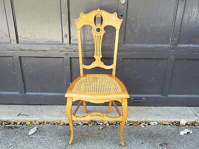 Antique c1900 Birdseye Maple Ladies Side Desk Chair w caned seat