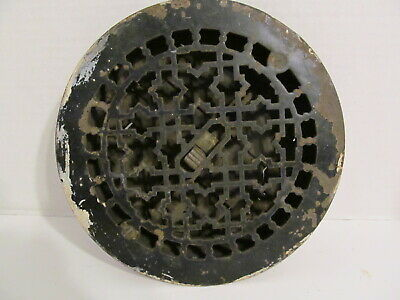 Antique Ornate Cast Iron Wall/Floor Round Louvered Vent Pat April 4 1899
