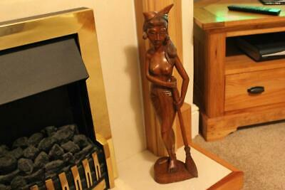 Large Vintage Hand Carved Wooden Mahogany Figure Of An Ethnic Lady Figure