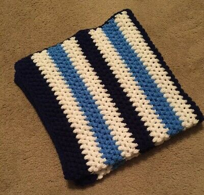 """New Hand Crocheted Baby Afghan Blanket Blue and White Striped 32 x 34"""" Brand New"""