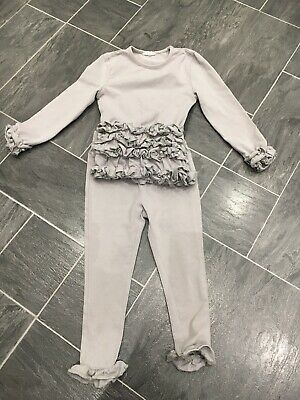 Girls 3 Years Silver Grey Stretch 2 Piece Top & Trousers With Pearl & Ruffles