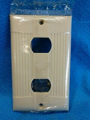 NOS EAGLE BAKELITE Tuxedo 2 Toggle Wall Plate IVORY Switch Cover Ribbed