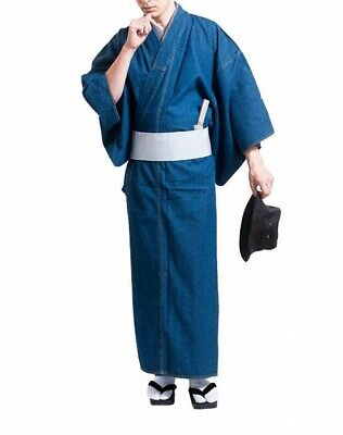 Japanese Men's Denim Kimono Blue Washable Without Obi Footwear From Japan EMS