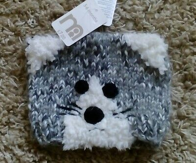 Mothercare Baby Girls New Cool Hat Age 3/6 Months Cat Bnwt Warm Winter