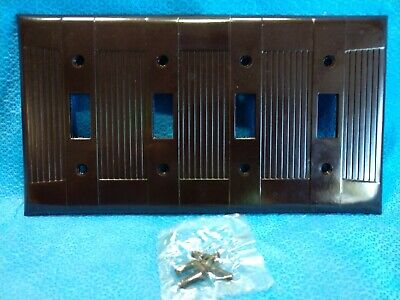 NOS EAGLE BAKELITE Tuxedo 4 Switch Wall Plate BROWN Cover Ribbed Four Gang