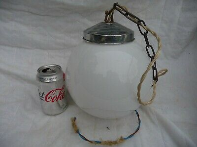 Antique 1930s Opaline Globe Pendant Light Original Chrome Gallery Metal Chain