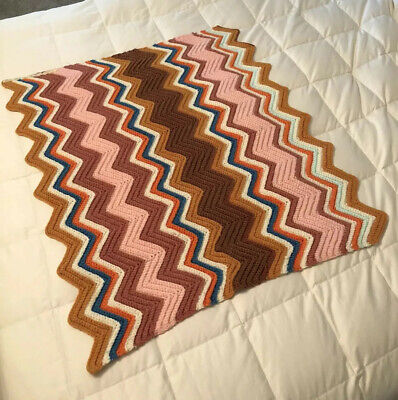 Small handknit 30 x 33 inches earthy brown, gold, pink chevron baby lap blanket