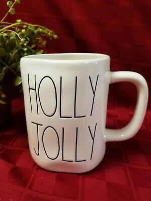 """New"" Rae Dunn by Magenta Christmas ""HOLLY JOLLY Wreath"" Double Sided Mug (VHTF)"