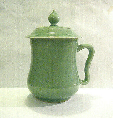 Very Fine Vintage Chinese Celadon Glazed Handled Lidded Cup Mug Signed