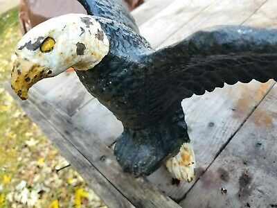 "Antique Cast Iron Figural Eagle large display art spread winged footed 16"" Heavy"