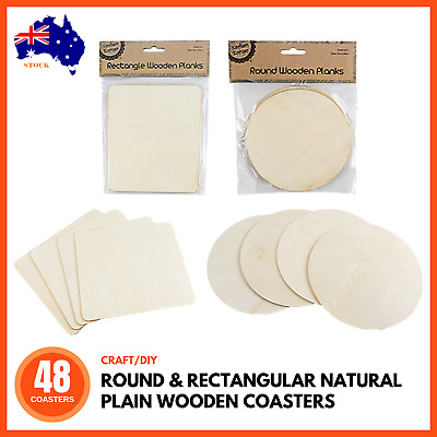 48 x ROUND & RECTANGLE PLAIN WOODEN UNFINISHED COASTER SHAPES Craft Home Decor