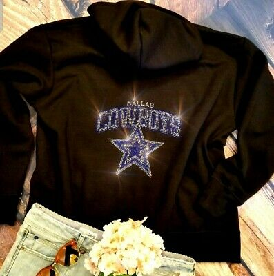 New Women's Rhinestone Dallas Cowboys Zip Up Jacket Hoodie  sz Medium all sizes
