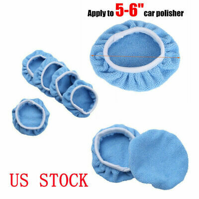 "5PCS 7"" 8/"" Car Polisher Auto Bonnet Soft Wool Polishing Waxing Buffing Pad Cover"