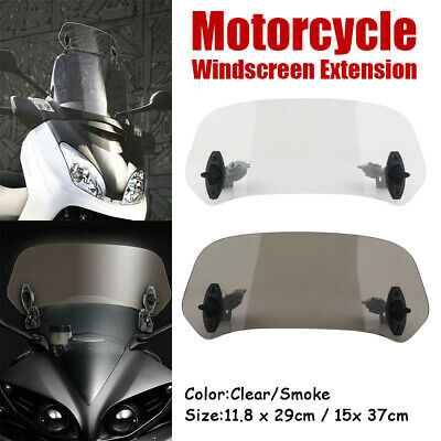 Motorcycle Adjustable Clip-On Windshield Extender Clear Deflector Wind Screen