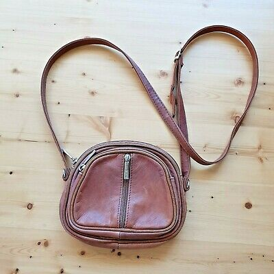 Vtg Valentino Di Paolo Brown Leather Crossbody Bag Sml Made Italy 3 Zip Pockets