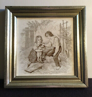 Antique Mintons China Works Art Tile, Boy, Girl, Dog, 1880s Excellent