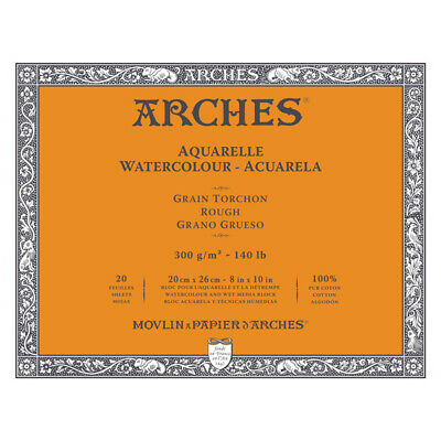 "Arches Watercolor Block 140 lb. 20 Sheets Rough 8X10"""" - Natural White"