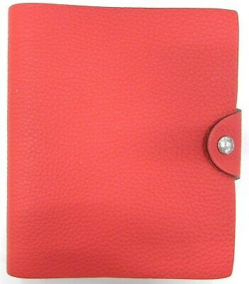 Authentic HERMES Togo Ulysse PM Agenda Cover Rouge France