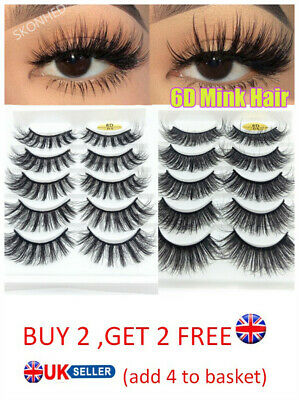 SKONHED 5 Pairs 6D Faux Mink Hair False Eyelashes Fluffy Wispy Lashes Extension