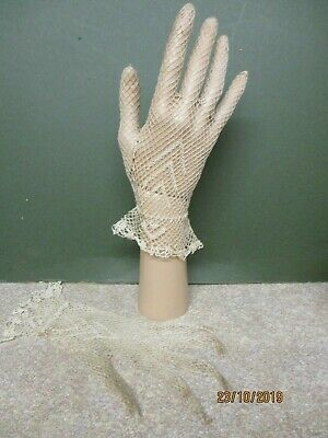 Vintage Cream Fine Crochet Gloves