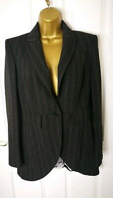 MS Womens Ladies Office Blazer Grey Size 10 Long Sleeve Coat Jacket Bodycon G