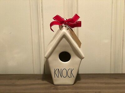 Rae Dunn Christmas Collection By Magenta Ceramic KNOCK Slant Roof Birdhouse VHTF