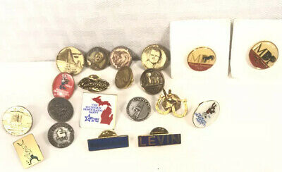 Lot 20 Democratic Party of Michigan lapel pins Vintage Original Blanchard Levin