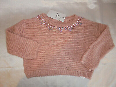 Marks & Spencers Girls Jumper Sparkly Neckline Age 6-7 Years Pink BNWT    1/21