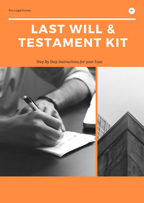 DIY WILL KIT, BRAND NEW 2019 Edition, Made for Couples or Singles. WRITE A WILL