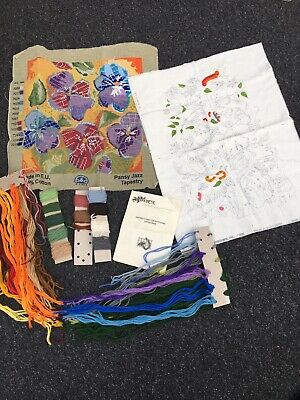 Tapestry Chintz Part worked. Cross Stitch Part Worked Mixed Wools Bundle Job Lot