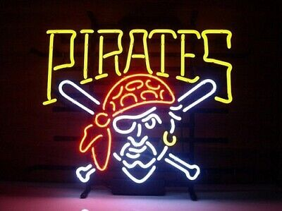 """New Pittsburgh Pirates Neon Light Sign 17""""x14"""" Beer Bar Real Glass Lamp Poster"""