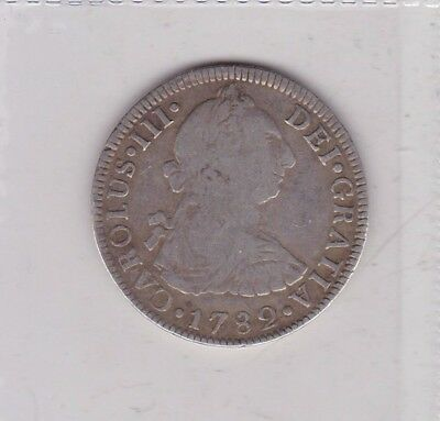 MEXICO 1782 Mo FF SILVER 2 REALS IN GOOD FINE OR BETTER CONDITION