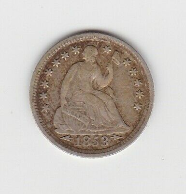 1853 Usa Silver Half Dime In Good Fine Or Slightly Better Condition