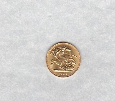 1901 Old Head Victoria Gold Half Sovereign In Extremely Fine Or Better Condition