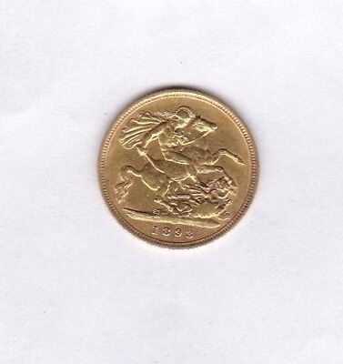 1893 Old Head Victoria Gold Half Sovereign In Good Very Fine Or Better Condition