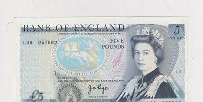 B332 J.b.page 1971 £5 L09 Last Series Banknote In Near Mint Condition