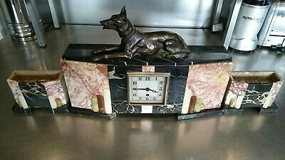 Art Deco French 3 Piece Marble Clock And Garniture Set Dog Figure